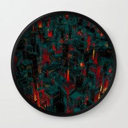 Night city glow cartoon Wall Clock
