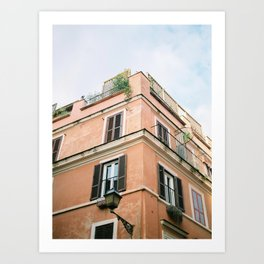 "Travel photography print ""Coral colored Rome"" photo art made in Italy. Warm colored. Art Print Art Print"