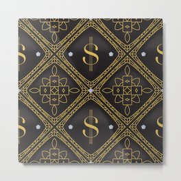 Abstract quilted pattern with dollar sign Metal Print