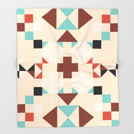 Geometric Quilt-like pattern - ivory, rust, sable, teal Throw Blanket