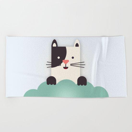 Cat Watching Beach Towel