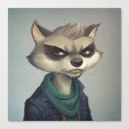 Hipster Raccoon Canvas Print