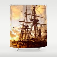 pirate ship Shower Curtains featuring PIRATE SHIP :) by Teresa Chipperfield Studios