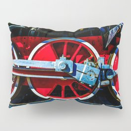 Red Wheels And Driving Rods Of A Vintage Steam Locomotive Pillow Sham