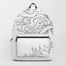 Helios Greek Sun God Head Drawing Black and White Backpack