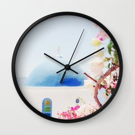Santorini Greece Mamma Mia pink flowers travel photography in hd. Wall Clock