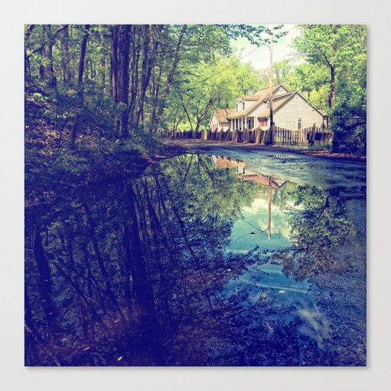 Country Lane Reflections Canvas Print