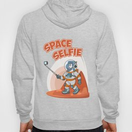 Astronaut making selfie. Modern creative illustration men with phone in universe on red planer with Hoody