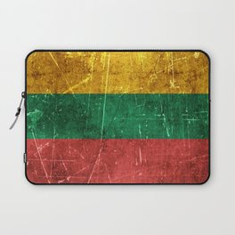 Vintage Aged and Scratched Lithuanian Flag Laptop Sleeve