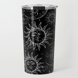 Black Magic Celestial Sun Moon Stars Travel Mug
