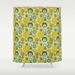 Circle Frenzy - Yellow Shower Curtain