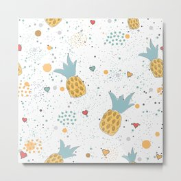 Lovely Pineapples Metal Print