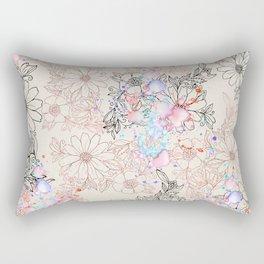 Modern vintage black rose gold watercolor floral Rectangular Pillow
