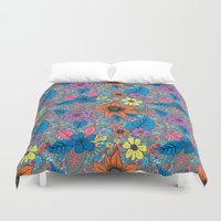 70s Duvet Covers featuring 70s floral by Lara Gurney