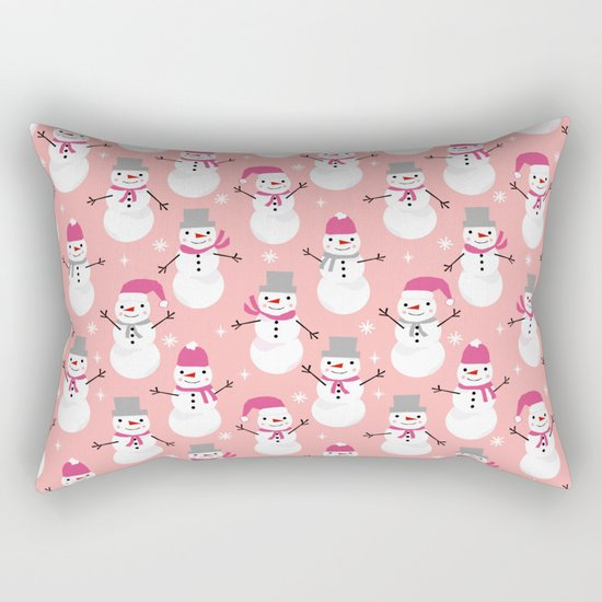 Snowman pattern illustration by charlotte winter snowflakes mittens scarves Rectangular Pillow