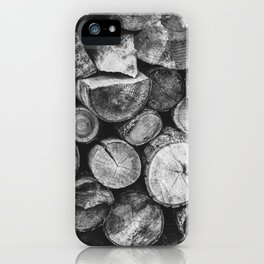 Logs of fire wood | Black and White | Lumber | Nature | By Magda Opoka iPhone Case