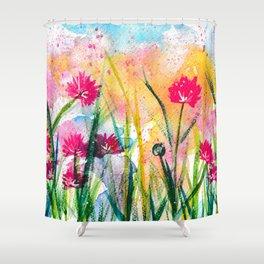 Flower Field Pink Blossom Shower Curtain