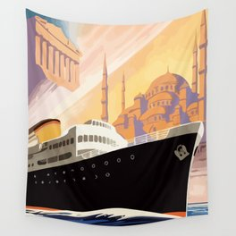 Venice Greece Istanbul shipping line retro vintage ad Wall Tapestry