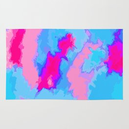 Girly Pink and Blue Abstract Digitized Watercolor Rug