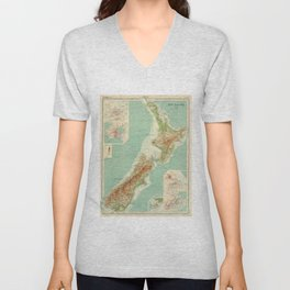 Vintage Map of New Zealand (1922) Unisex V-Neck