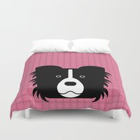 border collie Duvet Covers featuring Pop Dog Border Collie by lllg