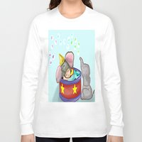 baby elephant Long Sleeve T-shirts featuring Baby Elephant  by grapeloverarts
