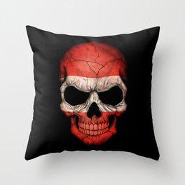 Dark Skull with Flag of Austria Throw Pillow