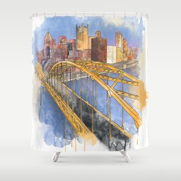 Pittsburgh Fort Pitt and Downtown Shower Curtain