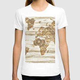 World map of wood T-shirt