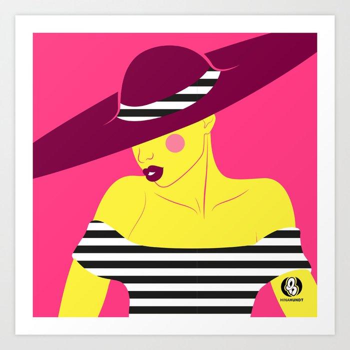 Hat & Stripes Art Print