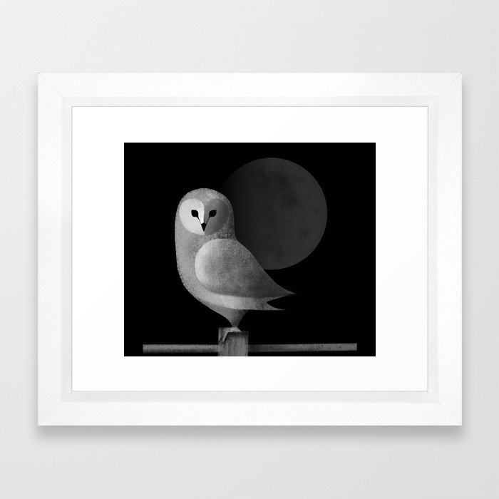 Night Owl Keepers curates Barn Owl Full Moon Framed Art Print by sunnybunny at Society 6