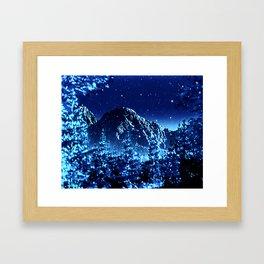 moonlight winter landscape Framed Art Print