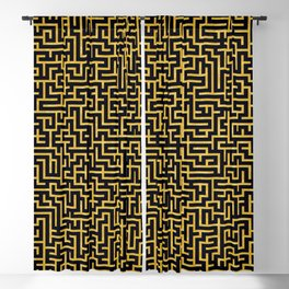 Maze -Black and Gold- Blackout Curtain