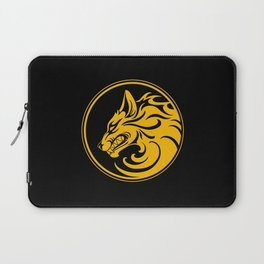 Yellow and Black Growling Wolf Disc Laptop Sleeve