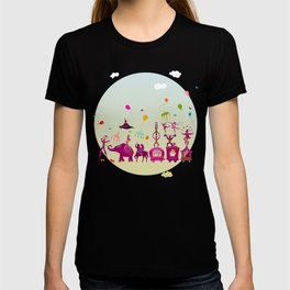 colorful circus carnival traveling in one row during daylight T-shirt