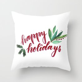 Happy Holidays - red and green Throw Pillow