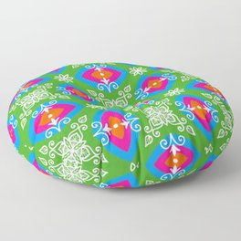 White design on pink, orange, green, and blue pattern Floor Pillow