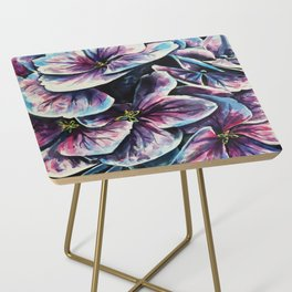 purple flowers watercolor art Side Table