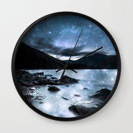 Magical Mountain Lake Steel Blue Gray Wall Clock