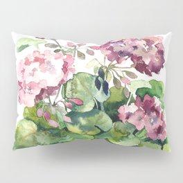 Watercolor pink geranium flowers aquarelle Pillow Sham