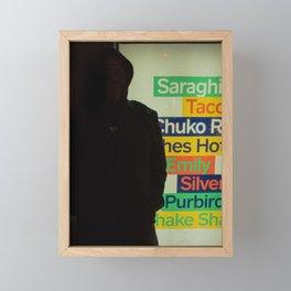 Man Shadow in front of Lighting Street Advertising Sign, B Framed Mini Art Print