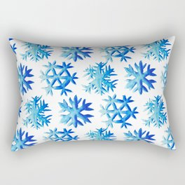 Blue Watercolor Snowflakes Pattern Rectangular Pillow