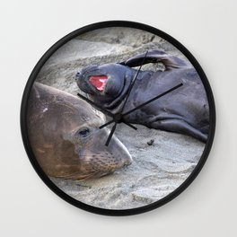 Elephant Seal Mother and Baby Wall Clock
