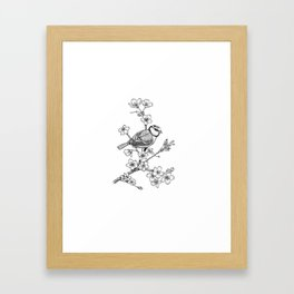 Parus with cherry blossoms Framed Art Print