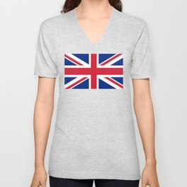 Union Jack Authentic color and scale 3:5 Version  Unisex V-Neck