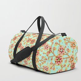 Candy Apple Blossom Aqua Duffle Bag