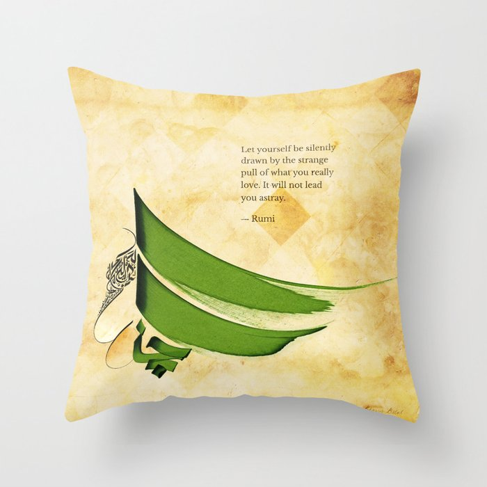 Arabic Calligraphy - Rumi - Strange Pull Throw Pillow