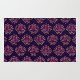 Violet & Gold Scallop Shell Pattern Rug