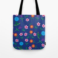 floral pattern Tote Bags featuring Floral pattern  by luizavictoryaPatterns