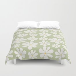 Floral Daisy Pattern - Green Duvet Cover